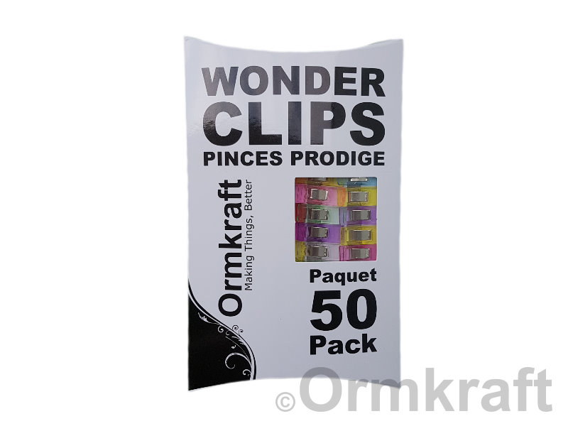 Ormkraft Wonder Clips - Package of 50. Mixed colours.